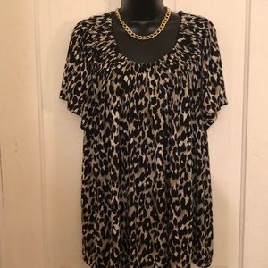 Style & co cheetah blouse top 3X